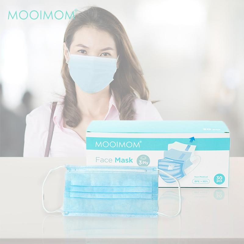 MOOIMOM Disposable Face Mask Adult Pack 30 Mask