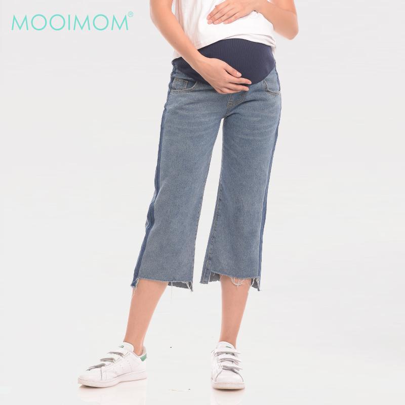 MOOIMOM Barrel Leg Maternity Jeans With Crop Hem Blue