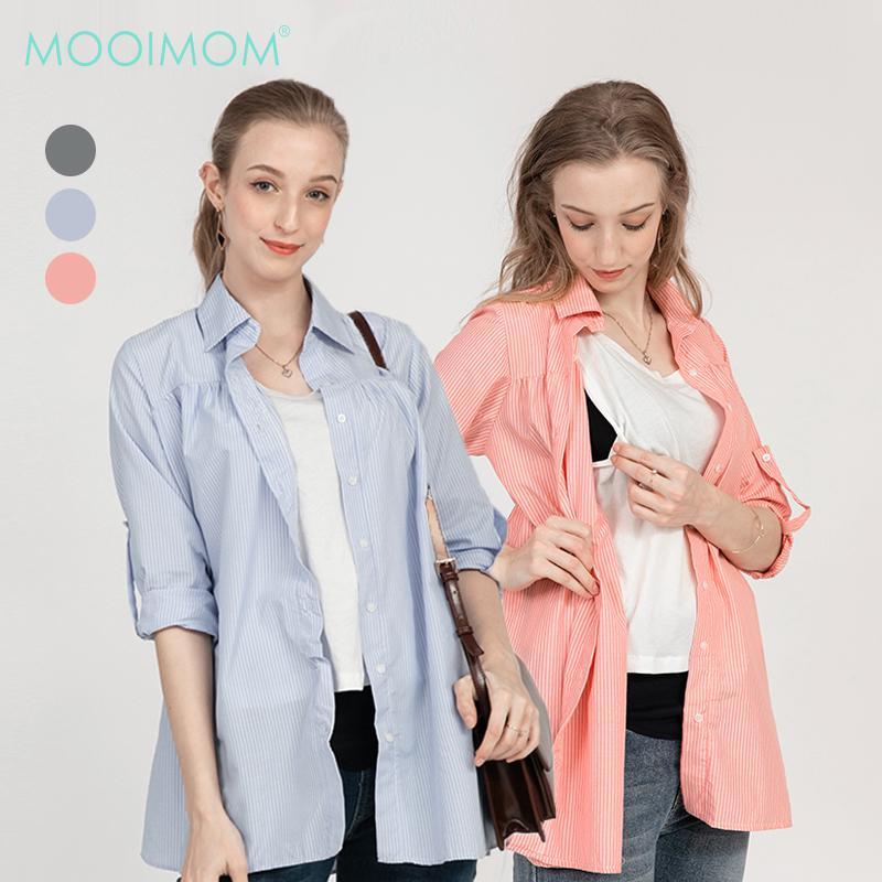 MOOIMOM Maternity & Nursing Casual Stripe Shirt