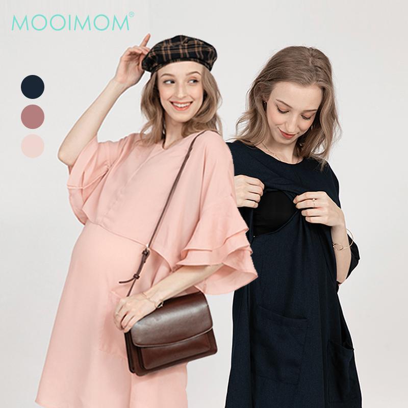 Double Flair Sleeve Maternity & Nursing Dress