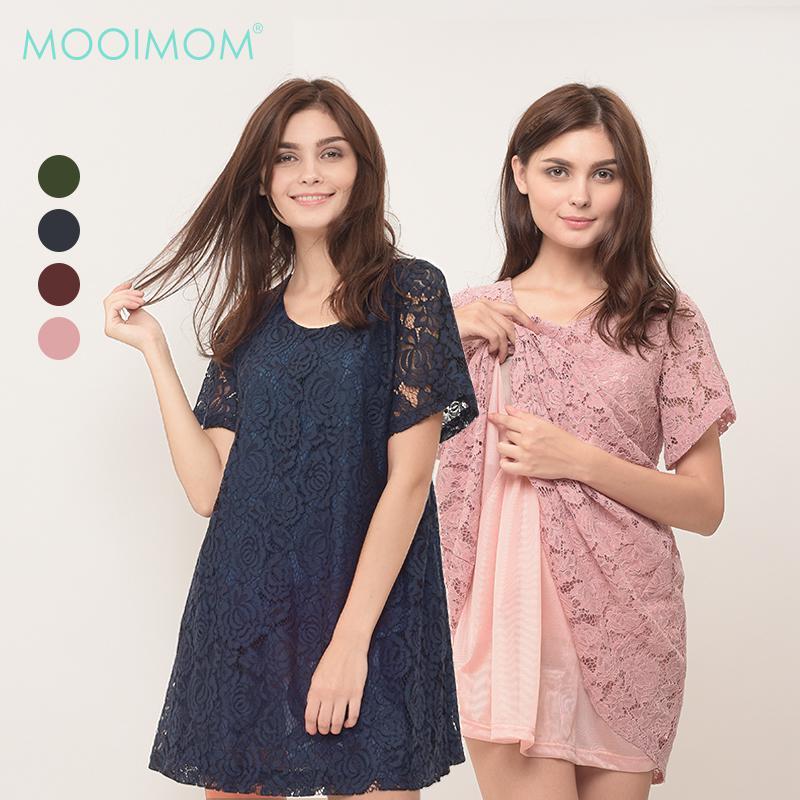 MOOIMOM Full Lace Nursing Dress