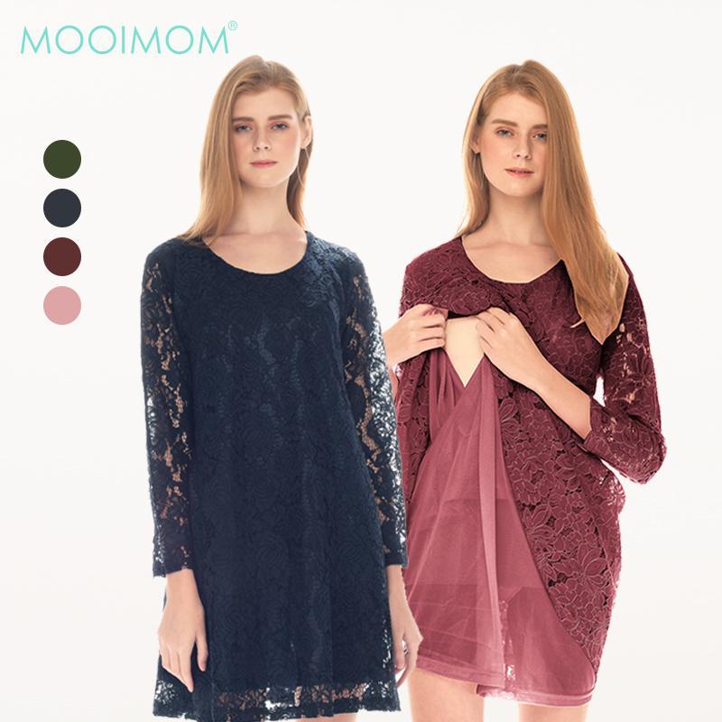 MOOIMOM Full Lace Long Sleeves Nursing Dress