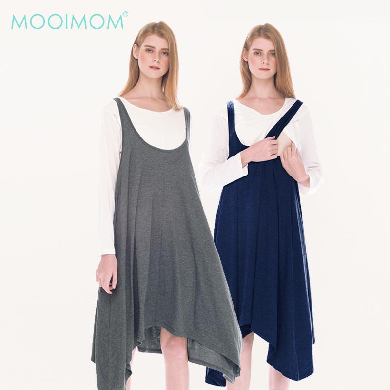 MOOIMOM 2 Piece Swing Long Sleeve Maternity & Nursing Dress