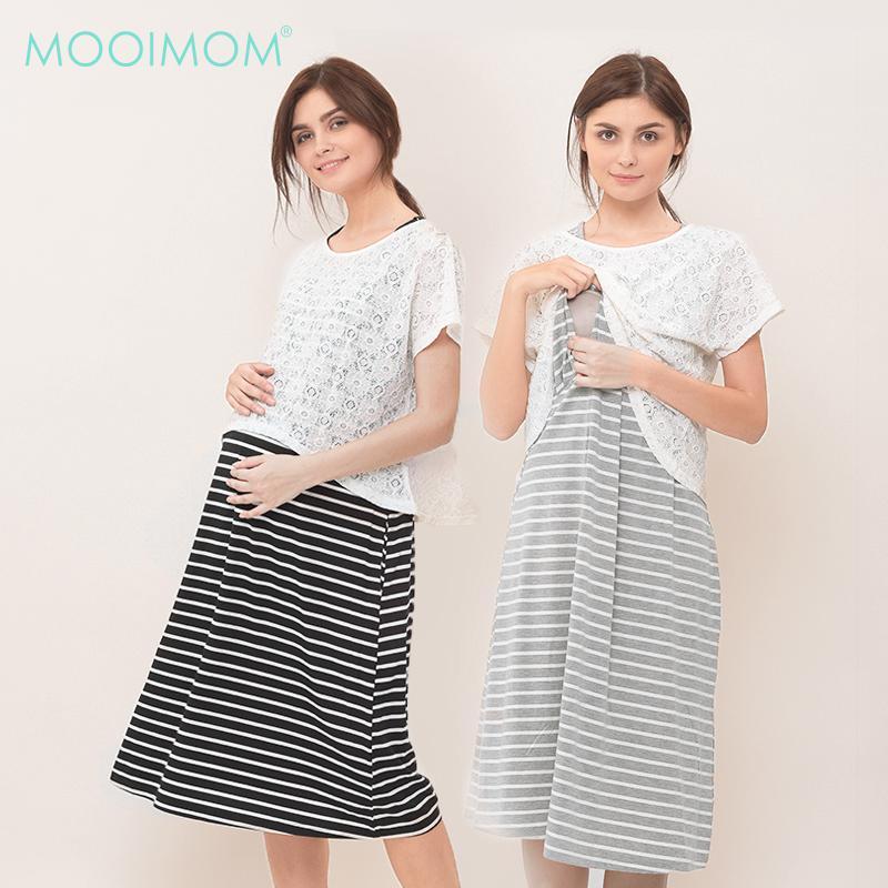 MOOIMOM 2 Piece Maternity & Nursing Lace Top Long
