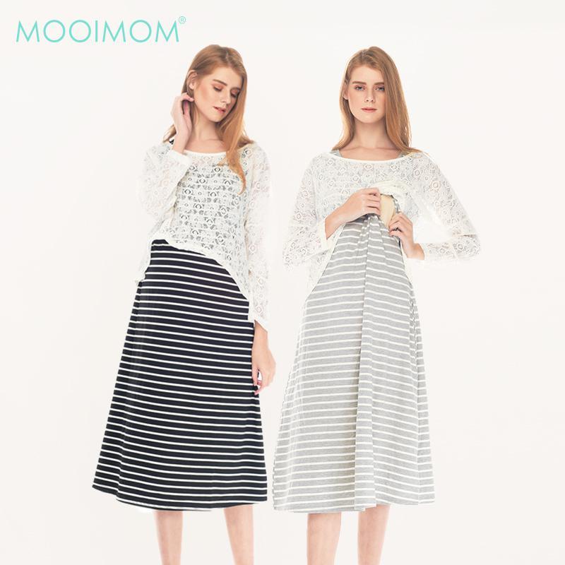 MOOIMOM 2Piece Maternity&Nursing Lace Long Sleeves+ Long Dress