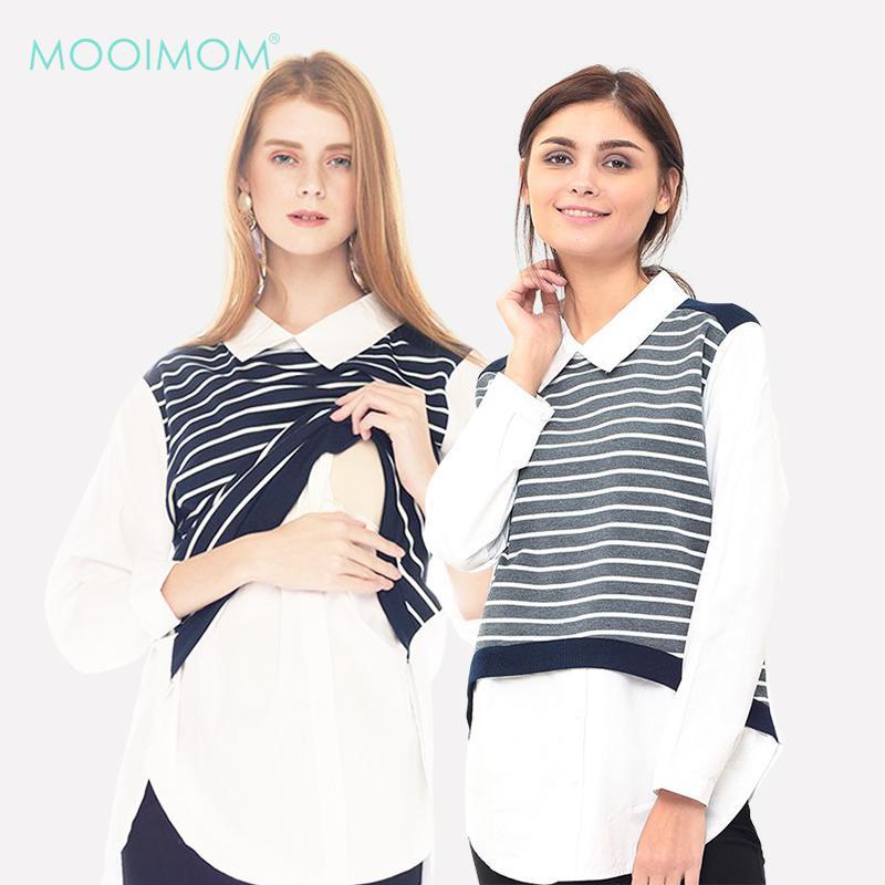 MOOIMOM Striped Vest Long - Sleeved Nursing Shirt With Collar