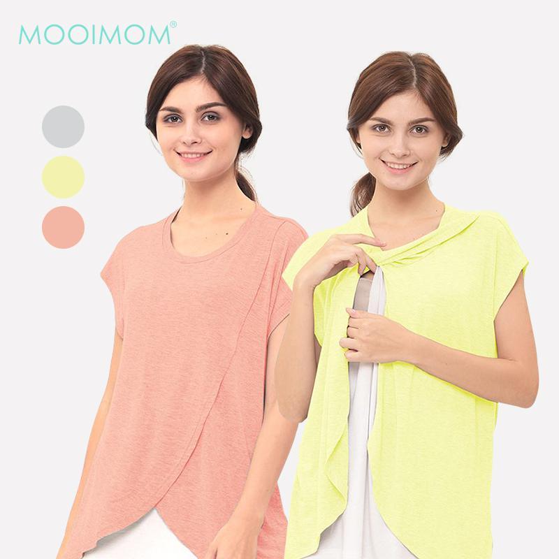 MOOIMOM Maternity Nursing T - Shirt With Wrap Overlay