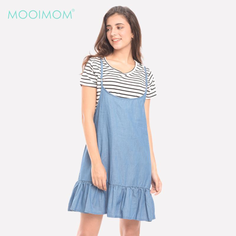 MOOIMOM 2 Pieces Midi Blue Stripes Denim Maternity & Nursing Dress