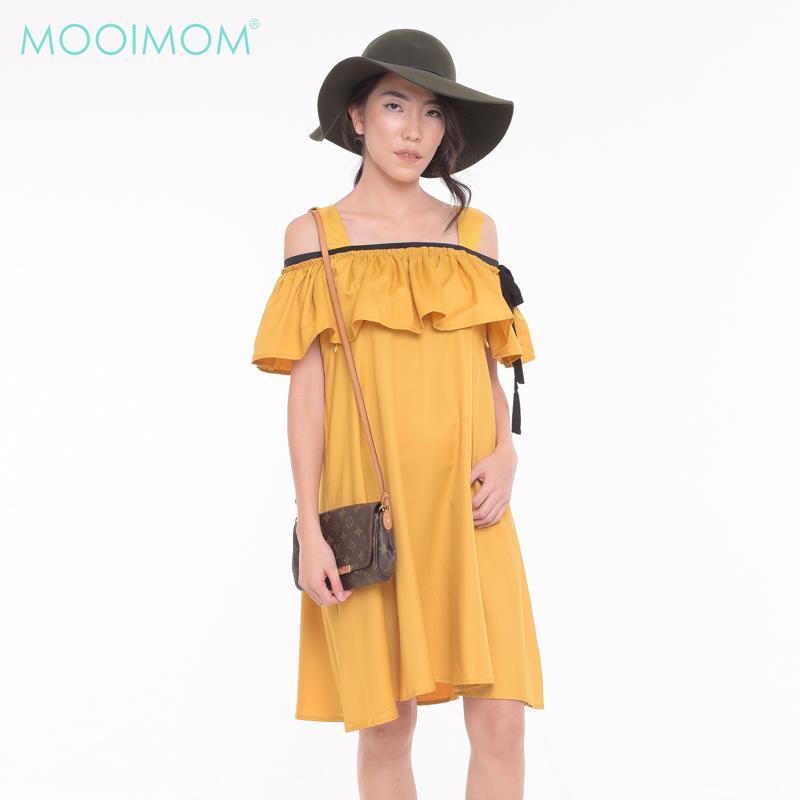MOOIMOM Cold Shoulder Ruffled Maternity & Nursing Dress Yellow