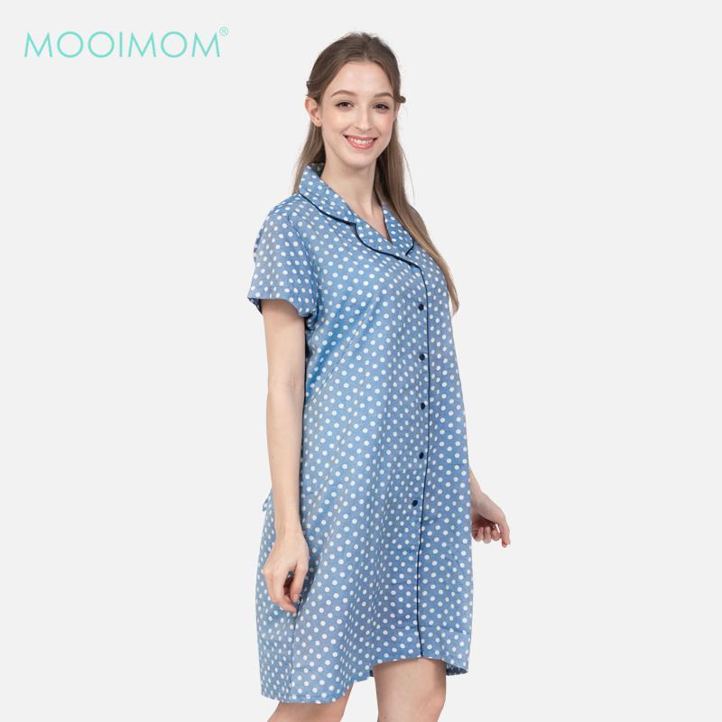 MOOIMOM Pajamas Sleepwear Dress Blue