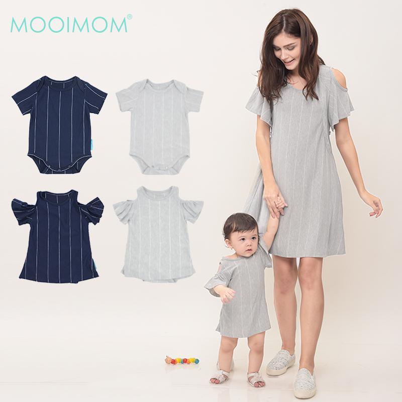 MOOIMOM Cold Shoulder Nursing Dress + Baby Clothes