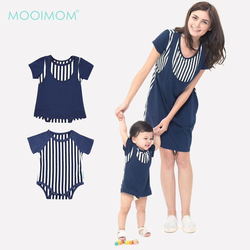 MOOIMOM Straight Stripe Nursing Sling Dress Couple Set Navy